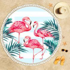 Tropical Flamingos Beach Towel