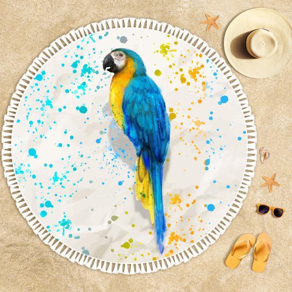 Tropical Parrot Illustration Beach Towel
