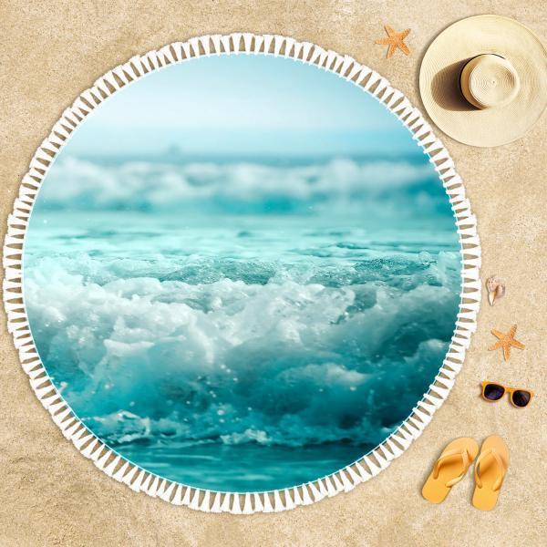 Turquoise Waves Beach Towel