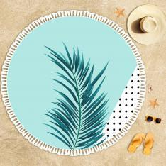 Turquoise Pattern and Leaves Beach Towel