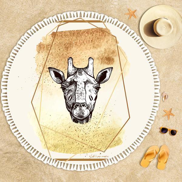 Giraffe Illustration Beach Towel