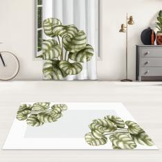 Oval Leaves and Gray Floor Printed Carpet