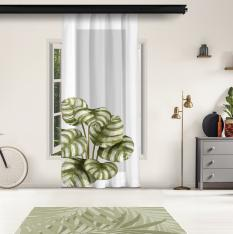 Oval Leaves and Gray Floor Panel Curtain