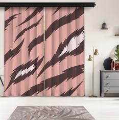 Pink Tiger Pattern 2 Piece Panel Curtain