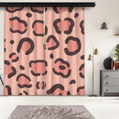 Pink Leopard Pattern 2 Piece Panel Curtain