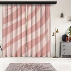 Powder Pink Zebra Pattern 2 Piece Panel Curtain