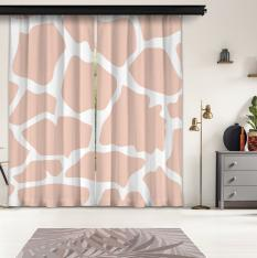 Powder Pink Giraffe Pattern 2 Piece Panel Curtain