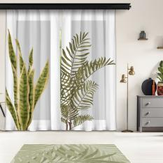 Plain Leaves and Gray Floor 1st Model 2 Piece Panel Curtain