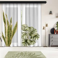 Plain Leaves and Gray Floor 2st Model 2 Piece Panel Curtain