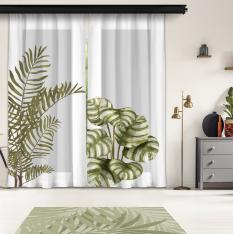 Plain Leaves and Gray Floor 3st Model 2 Piece Panel Curtain