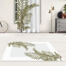 Plain Leaves and Gray Floor Printed Carpet