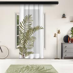 Plain Leaves and Gray Floor Panel Curtain