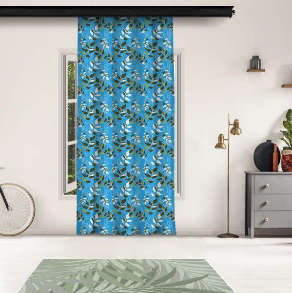 Tropical Çiçekli Mavi Fon Perde