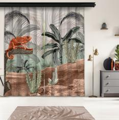 Tropical Trees and Sepia Chameleon 2 Piece Panel Curtain