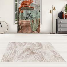 Tropical Trees and Sepia Chameleon Printed Carpet