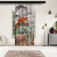 Tropical Trees and Sepia Chameleon Model 1 Panel Curtain