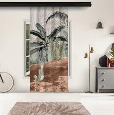 Tropical Trees and Sepia Chameleon Model 2 Panel Curtain