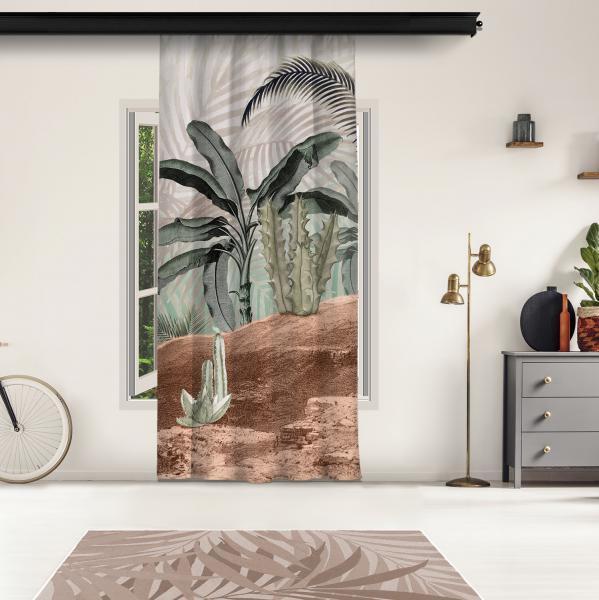 Tropikal Ağaçlar ve Sepya Bukalemun Model 2 Tek Kanat Fon Perde