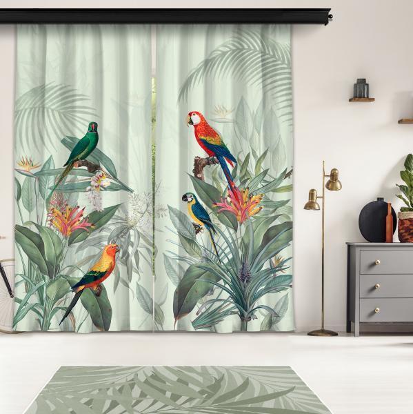 Tropikal Papağanlar 2 Kanat Fon Perde
