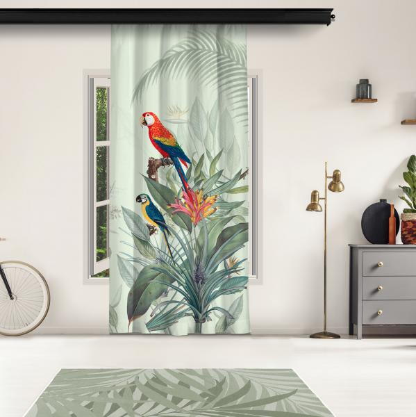 Tropikal Papağanlar Model 2 Tek Kanat Fon Perde