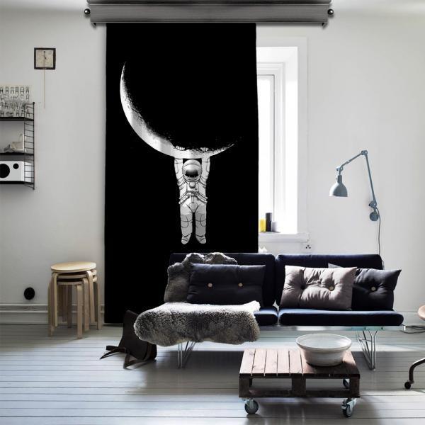 Ay ve Astronot Tek Kanat Fon Perde