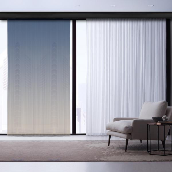 Beige-NavyBlue Degrade Tulle Curtain | Alien Banks Combine