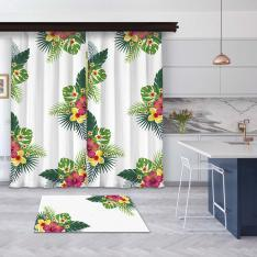White Summer Flowers 2 Pieces Panel Curtain