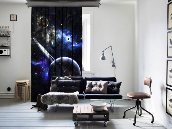 Fantazi Gezegenler Uzay Tek Kanat Perde