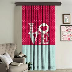 """LOVE"" Printed Panel Curtain Single Panel"