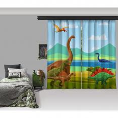 Dinozorların Yaşamı Model 2 2 Kanat Fon Perde