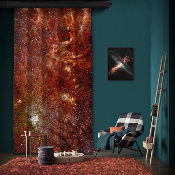 Galaktik Merkezin Hubble-Spitzer Renkli Mozaik Tek Kanat Fon Perde
