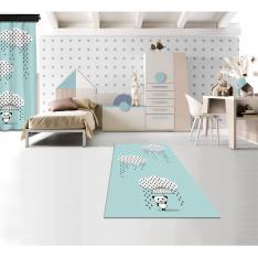 Downpour Panda Blue Printed Carpet By İmren Gürsoy