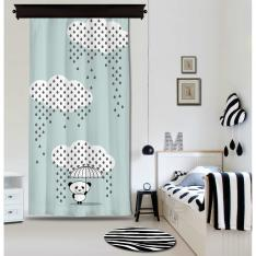 Downpour Panda Blue Curtain By İmren Gürsoy Blackout