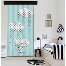 Downpour Panda Blue Curtain By İmren Gürsoy