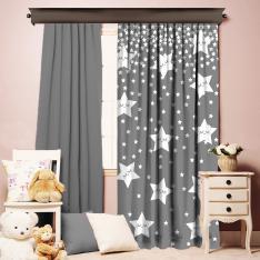 Sweet Sleeping Stars Gray Single Piece Curtain