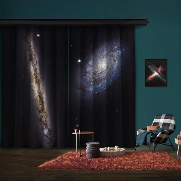 Spiral Gökada Çifti NGC 4302 ve NGC 4298 2 Kanat Fon Perde