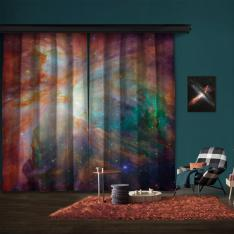 Spitzer and Hubble Create Colorful Masterpiece 2 Panel Curtain