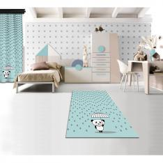 Rainy Panda Blue Printed Carpet By İmren Gürsoy