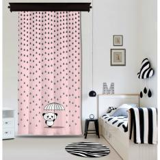 Rainy Panda Pink Panel Curtain By İmren Gürsoy