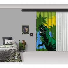 Green Dinosaur and LandscapeOne Piece Panel Curtain