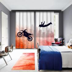 Artistik Motosiklet Atlayışı 2 Kanat Fon Perde