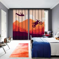 Artistic Motorcycle Jump & Landscape 2 Panel Curtain