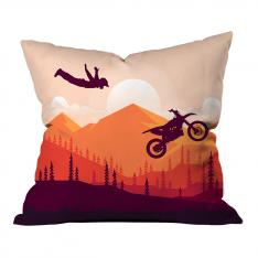 Artistic Motorcycle Jump & Landscape Pillow