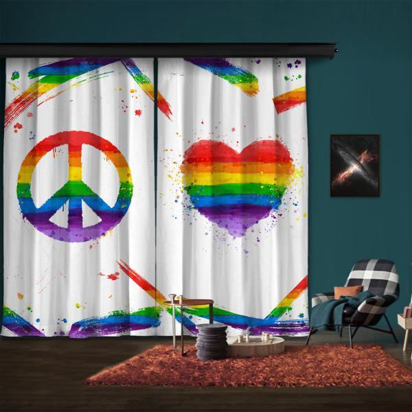 Rainbow Peace and Heart 2 Panel Curtain