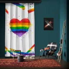 Rainbow Heart One Piece Panel Curtain