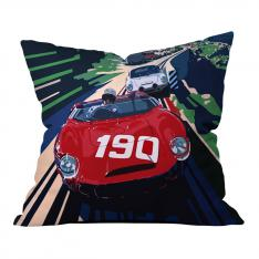 Red Car Illustrations Pillow