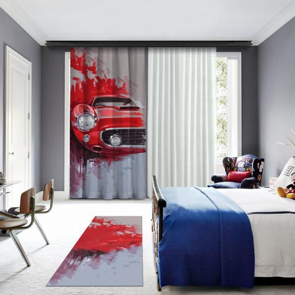Kırmızı Klasik Araba Illustrasyonu Baskılı Halı
