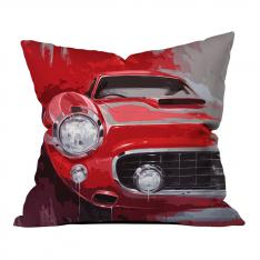 Red Classic Car Illustration Pillow