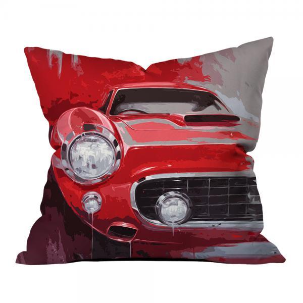Kırmızı Klasik Araba Illustrasyonu Kırlent