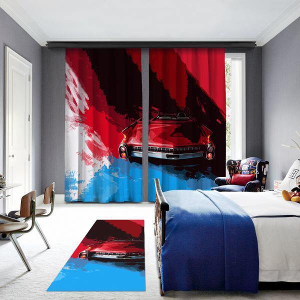 Mavi-Kırmızı Klasik Araba 2 Kanat Fon Perde